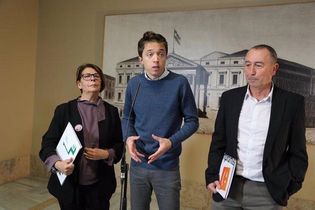 Els diputats electes de Més País Inés Sabanés, Íñigo Errejón i Joan Baldoví.