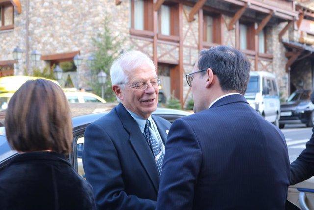 El ministre d'Afers exteriors en funcions, Josep Borrell, sortint aquest dimarts de la reunió ministerial preparatòria per a la Cimera Iberoamericana 2020.