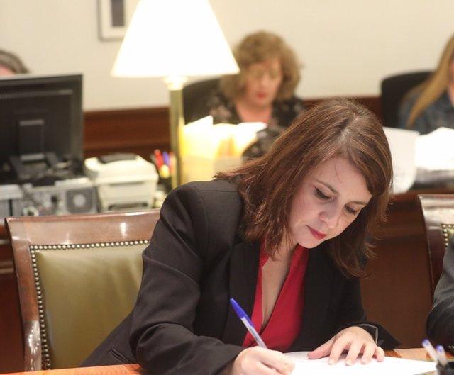 La portaveu parlamentria del PSOE, Adriana Lastra, al Congrés