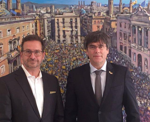 Reunión del expte.C.Puigdemont y el líder del Bloque Quebequés, Y-F.Blanchet en Waterloo (Bélgica)