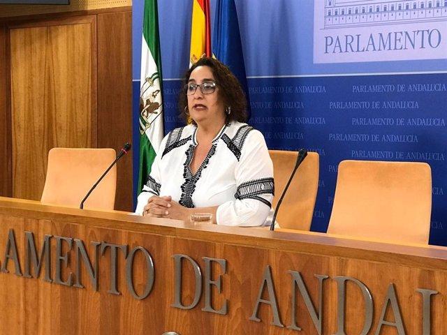La portavoz adjunta del grupo parlamentario de Adelante Andalucía, Ángela Aguilera, en rueda de prensa. Foto de archivo