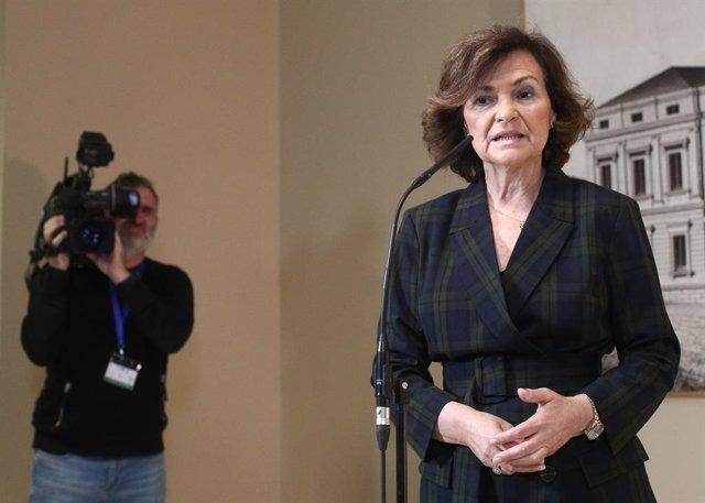 La vicepresidenta del Govern espanyol en funcions, Carmen Calvo, ofereix una roda de premsa al Congrés dels Diputats, Madrid (Espanya), 27 de novembre del 2019.