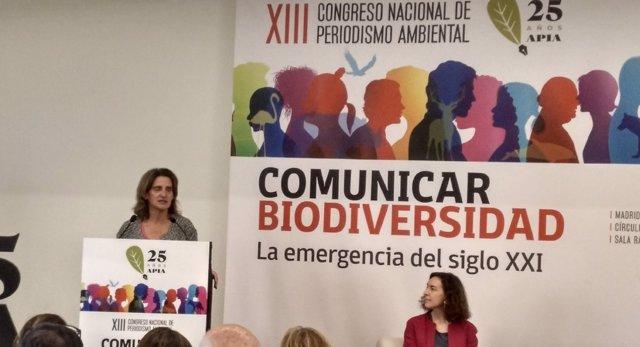 La ministra para la Transición Ecológica en funciones, Teresa Ribera, inaugura el XIII Congreso de Periodismo Ambiental de APIA.