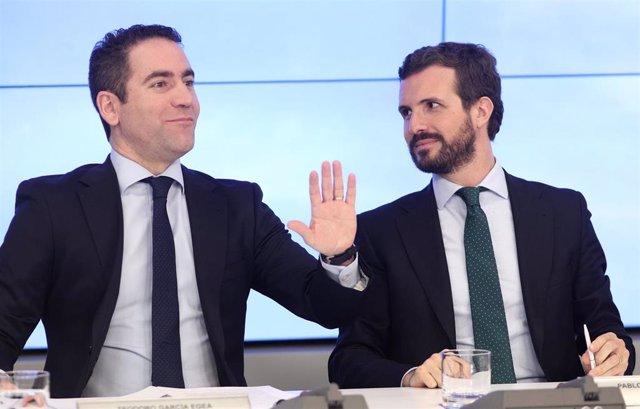 El secretario general del PP, Teodoro García Egea y el presidente del Partido Popular, Pablo Casado, momentos antes de empezar la reunión del Comité Ejecutivo Nacional del partido, tras las elecciones generales del 10N, en Madrid (España) a 12 de noviembr