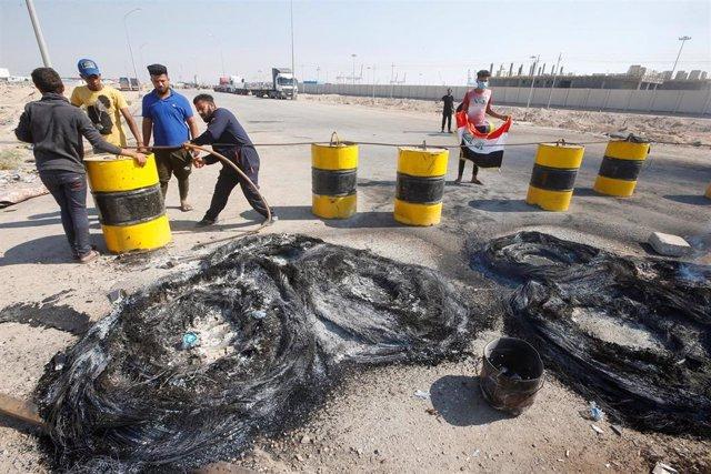 Protestas en Umm Kasar (Irak)