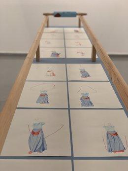 Una de las obras de jóvenes creadores finalistas de MálagaCrea 2019 reunidas en una exposición en la Caja Blanca