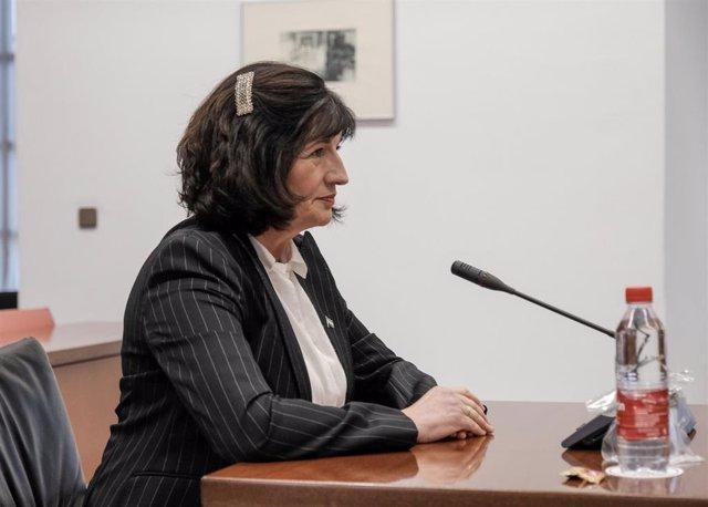 Pilar González, durante su comparecencia la Comisión Consultiva de Nombramientos del Parlamento sobre su idoneidad tras ser propuesta como senadora en representación de la comunidad