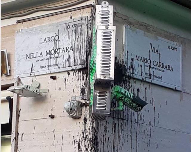 Atacadas con pintura las placas de dos calles rebautizadas con los nombres de científicos antifacsistas en Roma