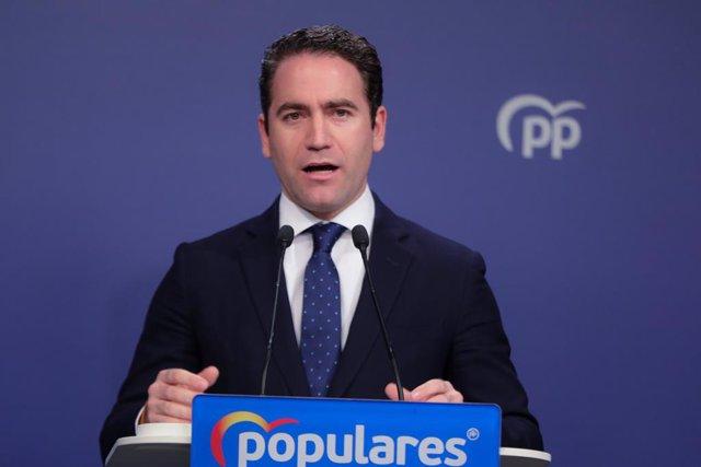 El secretari general del Partit Popular, Teodoro García Egea durant la seva intervenció la nit electoral del 10N a la seu del PP a Madrid (Espanya), on el partit segueix els resultats de l'escrutini, 10 de novembre del 2019.