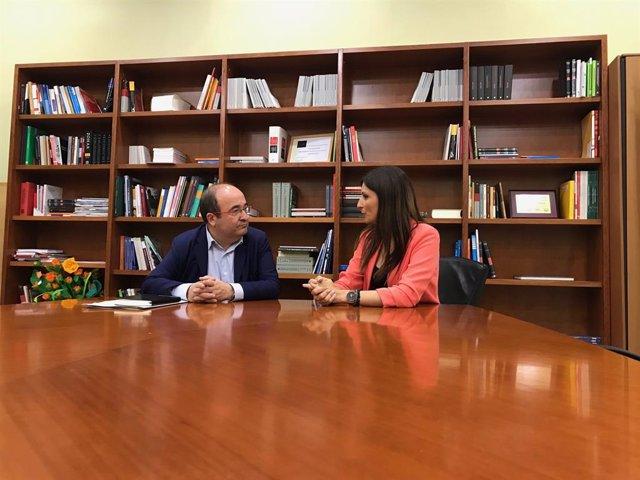 Miquel Iceta (PSC) y Lorena Roldan (Cs).