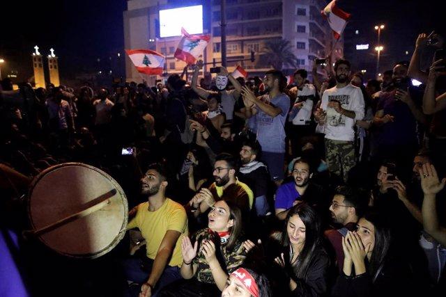 Manifestación contra el Gobierno de Líbano en Beirut