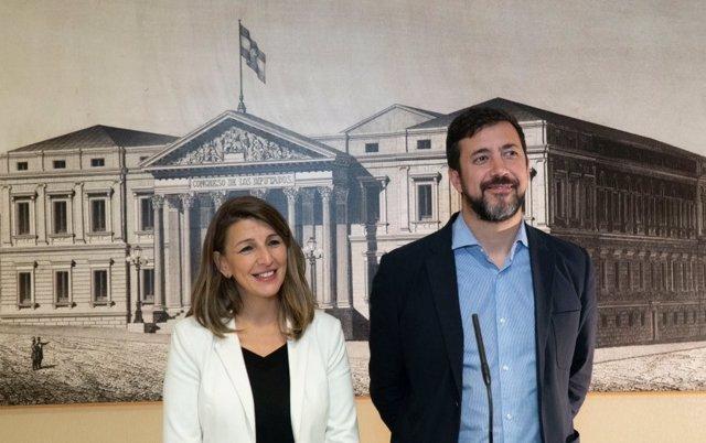 Yolanda Díaz y Antón Gómez Reino, diputados de En Común Galicia y Unidas Podemos