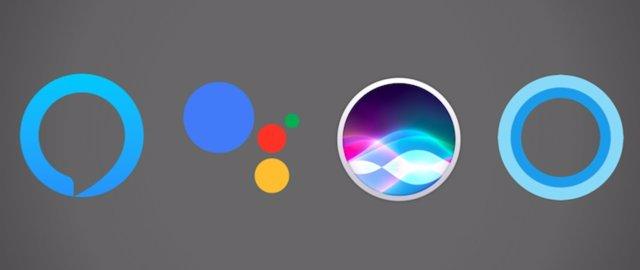 Logos de Siri, Cortana, Google Assistant y Alexa