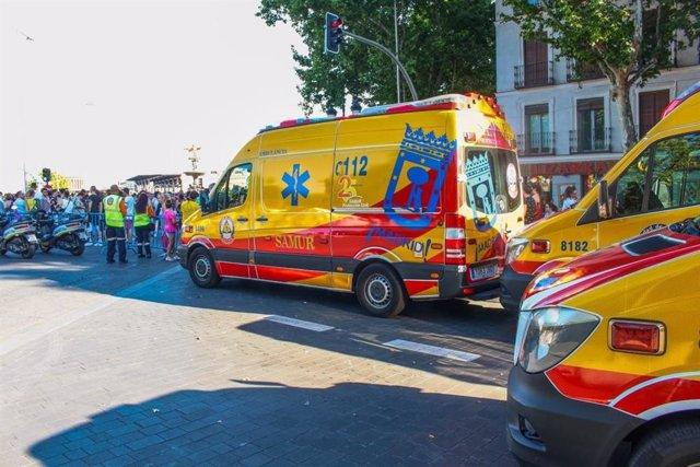 Ambulancias del Samur.