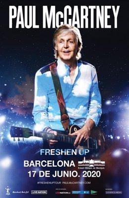 Cartel del concierto de Paul McCartney en Barcelona