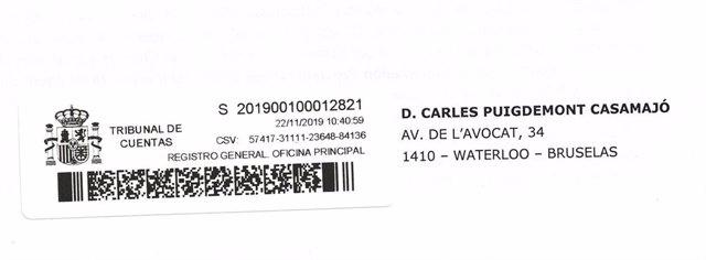 El expte.C.Puigdemont muestra el sobre del Tribunal de cuentas que recibió en enero de 2019.