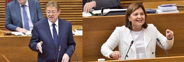 Ximo Puig e Isabel Bonig en intervenciones de archivo en Les Corts