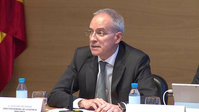 El director general de la AEAT, Jesús Gascón, durante la rueda de prensa sobre la presentación de la Campaña de Renta y Patrimonio 2018.