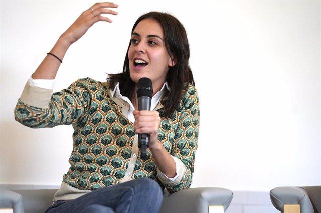 La coordinadora de la campaña de Más País, Rita Maestre, interviene  durante un acto político en Bilbao, a domingo 27 de octubre de 2019.