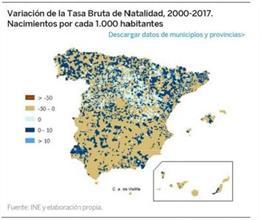 Variación de la Tasa Bruta de Natalidad en España entre 2000 y 2017.