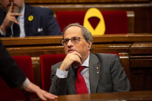 El president de la Generalitat, Quim Torra, durante una sesión plenaria en el Parlament de Catalunya, en Barcelona / Catalunya (España), a 26 de noviembre de 2019.