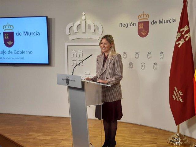 La portavoz del Gobierno regional, Ana Martínez Vidal, en la rueda de prensa