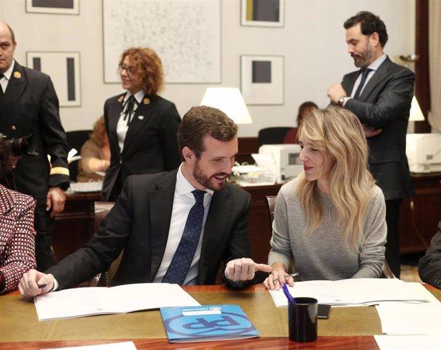 El presidente del Partido Popular, Pablo Casado (i), recoge el acta de diputado acompañado de la portavoz del Grupo Popular en el Congreso, Cayetana Álvarez de Toledo (d), en el Congreso de los Diputados, en Madrid (España), a 28 de noviembre de 2019.