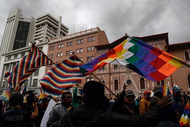 Manifestación de partidarios de Evo Morales en Bolivia