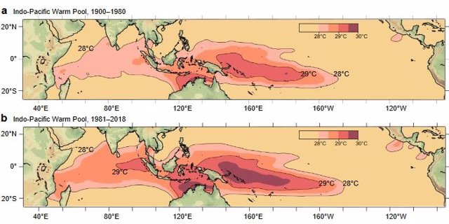 El Océano Indo-Pacífico recalentado altera patrones de lluvia globales