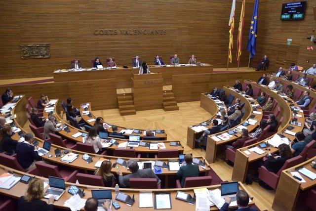La síndica de Unides Podem, Naiara Davó, interviene en Les Corts
