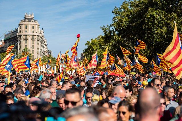 Cientos de personas con banderas de la estelada (bandera independentista catalana) acuden a la manifestación convocada por la Asamblea Nacional Catalana (ANC)  Cataluña 2019, en Barcelona (España) a 11 de septiembre de 2019.