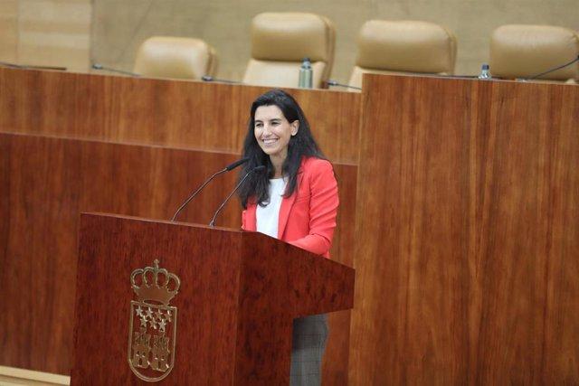 La portavoz en la Asamblea del Grupo Parlamentario Vox, Rocío Monasterio durante su intervención en el debate parlamentario ` Modelo de Parlamento Europeo, en Madrid, a 20 de septiembre de 2019.