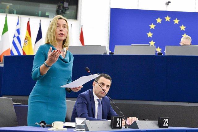Federica Mogherini en una intervención ante el Parlamento Europeo