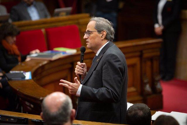 El president de la Generalitat de Catalunya, Quim Torra, durant la seva intervenció en una sessió plenària del Parlament, a Barcelona /Catalunya (Espanya), 13 de novembre del 2019.