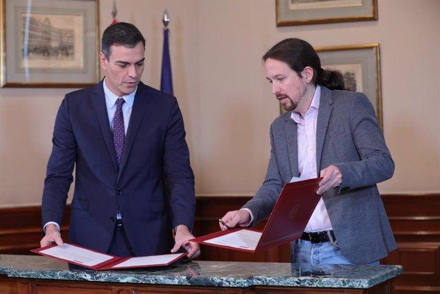 El president del Govern en funcions, Pedro Sánchez i el líder de Podem, Pablo Iglesias.