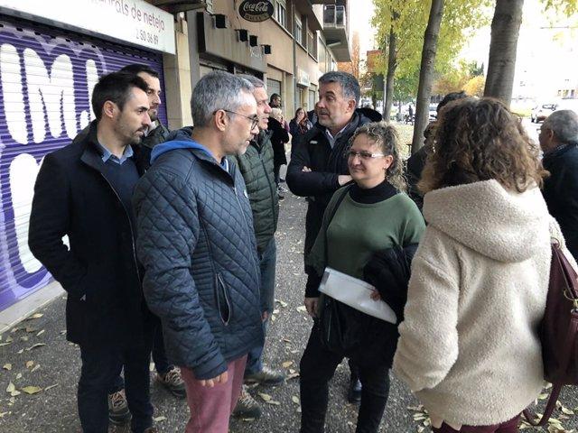 Concentració de suport a la regidora d'ERC a la Jonquera (Girona) Marta Collell per la seva compareixença davant la Guàrdia Civil.