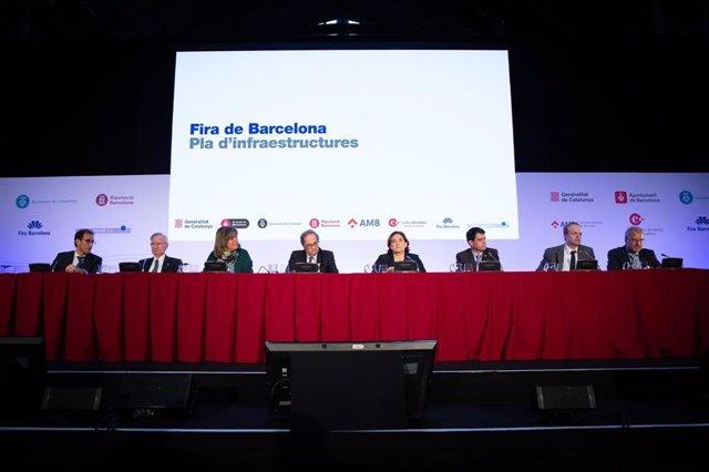 Presentación del plan para ampliar el recinto de Gran Via de Fira de Barcelona y remodelar el de Montjuïc presidida por el presidente de la Generalitat, Quim Torra, en un foto de archivo.
