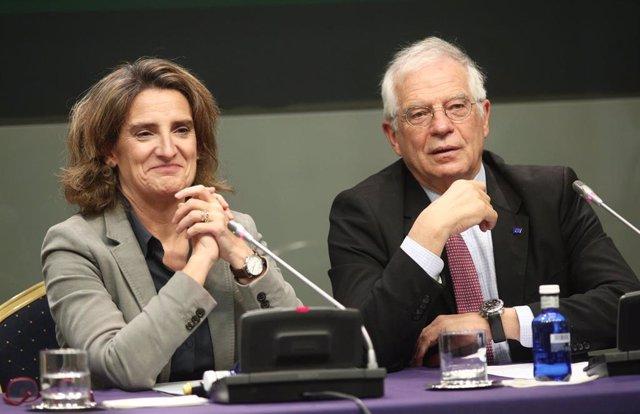 La ministra de Transición Ecológica en funciones, Teresa Ribera, y el ministro en de Asuntos Exteriores en funciones, Josep Borrell, durante la presentación de la COP25