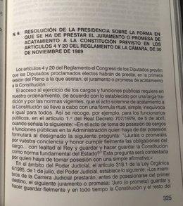 Resolución de Presidencia que regula la fórmula de acatamientos de la Constitución