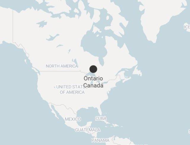 Localización en el mapa de la provincia de Ontario, Canadá