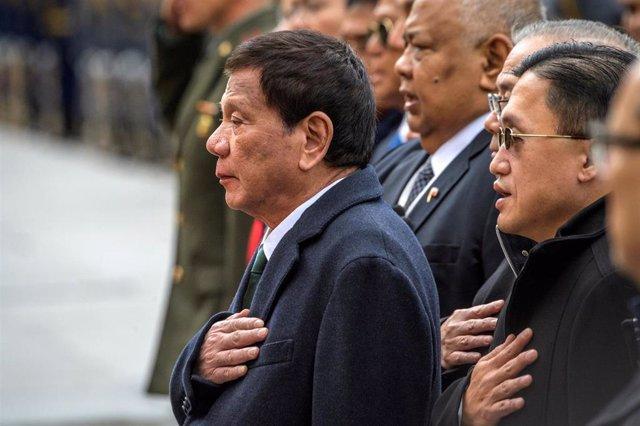 El presidente de Filipinas,  Rodrigo Duterte, durante una visita oficial a Moscú, Rusia.
