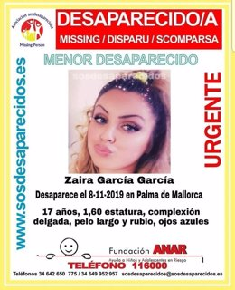 Imagen de Zaira García García, la menor desparecida en Palma