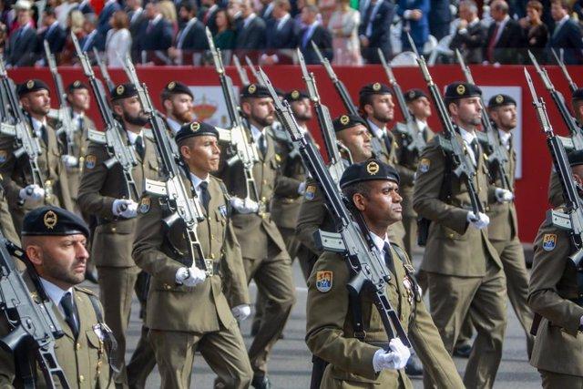 Militares participantes en el desfile del Día de la Fiesta Nacional, en Madrid (España) a 12 de octubre de 2019.