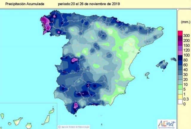 Precipitaciones acumuladas desde el 20 hasta el 26 de noviembre de 2019 en España