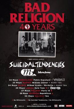 Bad Religion contará con Suicidal Tendencies y Millencolin en su gira española d