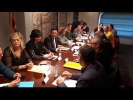 Responsables de la Generalitat, de la Diputación y de la Subdelegación del Gobierno reunidos en la Delegación del Govern.