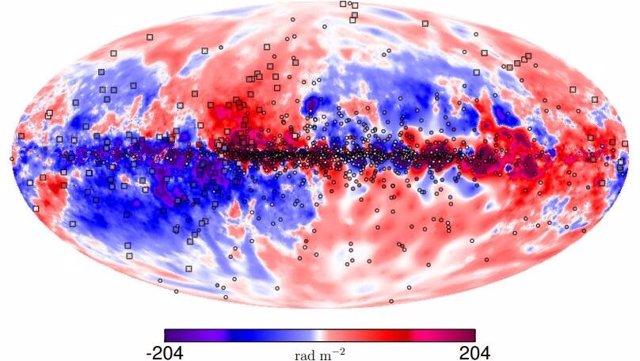 Nuestra galaxia si los campos magnéticos fueran visibles