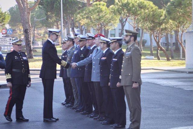 El Rey Felipe VI visita el Cuartel General de la Operación Atlanta en la Base Naval de Rota (Cádiz)