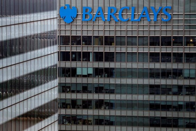 A Barclays bank building is seen at Canary Wharf in London