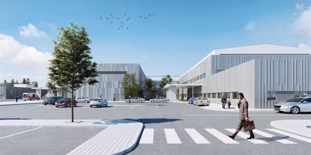 Recreación virtual del futuro Hospital de Teruel.